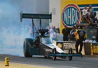Mar 15, 2019; Gainesville, FL, USA; NHRA top fuel driver Mike Salinas during qualifying for the Gatornationals at Gainesville Raceway. Mandatory Credit: Mark J. Rebilas-USA TODAY Sports