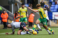 Bolton Wanderers' Josh Magennis competing with Norwich City's Jamal Lewis  <br /> <br /> Photographer Andrew Kearns/CameraSport<br /> <br /> The EFL Sky Bet Championship - Bolton Wanderers v Norwich City - Saturday 16th February 2019 - University of Bolton Stadium - Bolton<br /> <br /> World Copyright © 2019 CameraSport. All rights reserved. 43 Linden Ave. Countesthorpe. Leicester. England. LE8 5PG - Tel: +44 (0) 116 277 4147 - admin@camerasport.com - www.camerasport.com