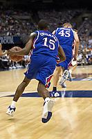 SAN ANTONIO, TX - APRIL 5, 2008: The University of Kansas Jayhawks face the University of North Carolina Tarheels in the second semi-final during the NCAA Men's Basketball Final Four at the Alamodome. (Photo by Jeff Huehn)