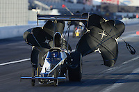 Nov. 9, 2012; Pomona, CA, USA: NHRA top alcohol dragster driver XXXX during qualifying for the Auto Club Finals at at Auto Club Raceway at Pomona. Mandatory Credit: Mark J. Rebilas-