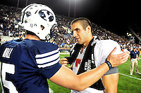 Sept. 19, 2009; Provo, UT, USA; BYU Cougars quarterback Max Hall (left) congratulates Florida State Seminoles quarterback Christian Ponder following the game at LaVell Edwards Stadium. Florida State defeated BYU 54-28. Mandatory Credit: Mark J. Rebilas-