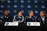 04 December 2008: From left: Head coach Randy Waldrum, junior Courtney Rosen, Senior Elise Weber, and junior Michele Weissenhofer. The Notre Dame Fighting Irish held a press conference at WakeMed Soccer Park in Cary, NC one day before their NCAA Women's College Cup semifinal game.