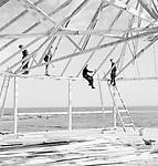 The dance floor of Valasranta Highlands under construction, Finland 1955