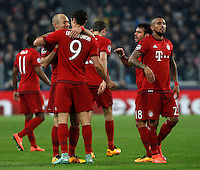 Calcio, andata degli ottavi di finale di Champions League: Juventus vs Bayern Monaco. Torino, Juventus Stadium, 23 febbraio 2016. <br /> Bayern's Arjen Robben, left, celebrates with teammates after scoring during the Champions League first leg round of 16 football match between Juventus and Bayern at Turin's Juventus Stadium, 23 February 2016.<br /> UPDATE IMAGES PRESS/Isabella Bonotto