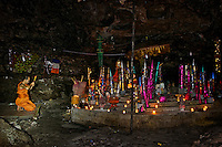 The Buddhist meditation Cave (Bat Cave) in the Phnom Kulen Mointain area, Siem Reap Cambodia