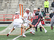 College Park, MD - April 15, 2018: Rutgers Scarlet Knights Christian Mazzone (21) attempts a shot during game between Rutgers and Maryland at  Capital One Field at Maryland Stadium in College Park, MD.  (Photo by Elliott Brown/Media Images International)