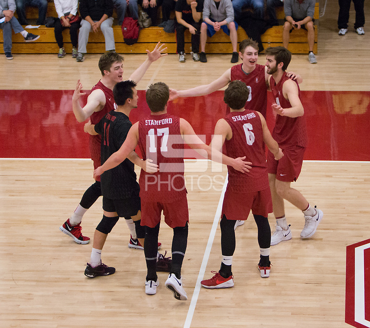 STANFORD, CA - March 10, 2018: Russell Dervay, Eli Wopat, Leo Henken, Matt Klassen, Kyler Presho at Burnham Pavilion. The Stanford Cardinal lost to UC Irvine, 3-0.