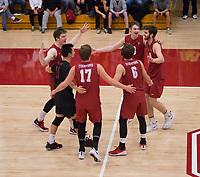 STANFORD, CA - March 10, 2018: Russell Dervay, Eli Wopat, Leo Henken, Matt Klassen, Kyler Presho at Burnham Pavilion. The Stanford Cardinal lost to UC Irvine, 3-0.