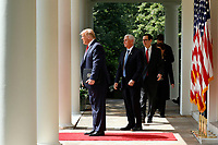 United States President Donald J. Trump, left, leads US Vice President Mike Pence, center, US Secretary of the Treasury Steven T. Mnuchin, right, and members of the cabinet arrive to deliver remarks and sign H.R. 7010 - PPP Flexibility Act of 2020 in the Rose Garden of the White House in Washington, DC on June 5, 2020. <br /> Credit: Yuri Gripas / Pool via CNP/AdMedia