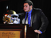 Anthony Catapano of Carey speaks after receiving the Martone Award for top lineman at the Nassau County High School Football Coaches Association Gridiron Banquet at Crest Hollow Country Club on Wednesday, Dec. 9, 2015.