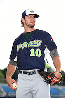 Vermont Lake Monsters pitcher Jordan Schwartz (10) poses for a photo before a game against the Jamestown Jammers on July 12, 2014 at Russell Diethrick Park in Jamestown, New York.  Jamestown defeated Vermont 3-2.  (Mike Janes/Four Seam Images)