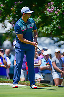 Jon Rahm (ESP) watches his putt on 9 during the round 1 of the Dean &amp; Deluca Invitational, at The Colonial, Ft. Worth, Texas, USA. 5/25/2017.<br /> Picture: Golffile | Ken Murray<br /> <br /> <br /> All photo usage must carry mandatory copyright credit (&copy; Golffile | Ken Murray)