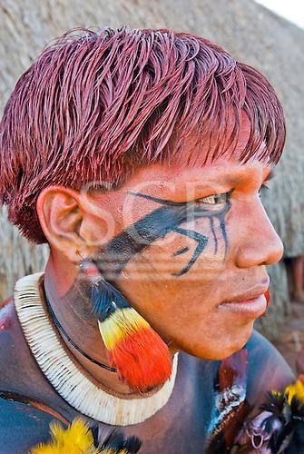 Xingu Indigenous Park, Mato Grosso State, Brazil. Aldeia Kuikuro - central village. Festival of Taquara. Kuiawa Kuikuro.