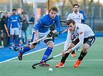 UTRECHT - Ties Ceulemans (Kampong) met Wiegert Schut (Adam)    tijdens de hoofdklasse hockeywedstrijd mannen, Kampong-Amsterdam (4-3). COPYRIGHT KOEN SUYK