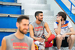 Player Jaime Fernandez attends to journalist Quique Peinado after the training of Spanish National Team of Basketball 2019 . July 26, 2019. (ALTERPHOTOS/Francis González)