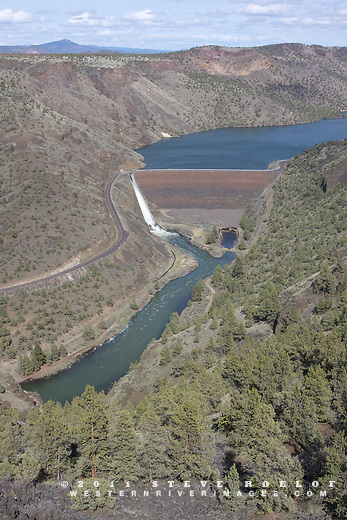 The spillway at the Arthur R. Bowman Dam discharges high spring flows along the Crooked River, Oregon.