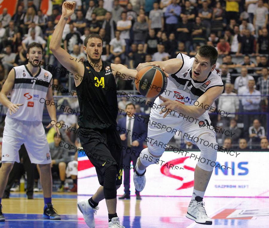 Kosarka Euroleague season 2013-2014<br /> Euroleague<br /> Partizan v Barcelona<br /> Djordje Gagic (R) Bostjan Nachbar (C) and Joffrey Lauvergne (L)<br /> Beograd, 21.11.2013.<br /> foto: Srdjan Stevanovic/Starsportphoto &copy;