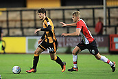 3rd October 2017, The Abbey Stadium, Cambridge, England; Football League Trophy Group stage, Cambridge United versus Southampton U21; Harlem Hale of Southampton closes down Matthew Foy of Cambridge United