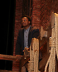 "J. Quinton Johnson during the  #EduHam matinee performance Q & A for ""Hamilton"" at the Richard Rodgers Theatre on 3/28/2018 in New York City."