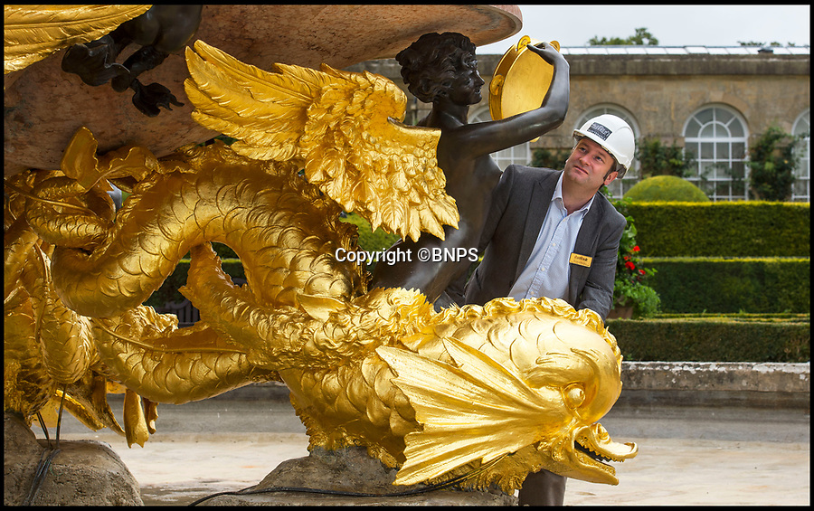 BNPS.co.uk (01202 558833)<br /> Pic: PhilYeomans/BNPS<br /> <br /> Blenheim Palace Surveyor Richard Bowden.<br /> <br /> All that Glisters....Is Gold! <br /> <br /> This spectacular restoration of the Mermaid Fountain at Blenheim Palace uses 8750 leaves of real gold to restore its stunning golden hue.<br /> <br /> The ornate gilded bronze fountain has been returned to its original glory more than a century after its original installation.<br /> <br /> The Mermaid Fountain is the centrepiece of the formal Italian Garden at Blenheim Palace.<br /> <br /> Sculpted by renowned British/American artist Thomas Waldo Story it was installed at the Oxfordshire World Heritage Site by the 9th Duke of Marlborough in 1912.<br /> <br /> However over the decades the fountain became covered with a thick layer of limescale and algae and restorers used 350 books of almost pure 23 ¾ carat triple layer Old English gold to bring it back to life.<br /> <br /> The work is part of a £40 million rolling programme of conservation being carried out at the UNESCO World Heritage Site which was the birthplace of Winston Churchill.