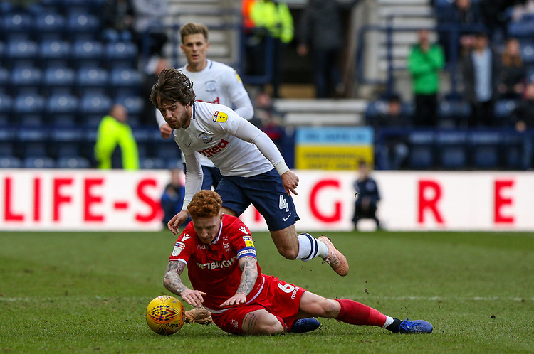 Nottingham Forest's Jack Colback is fouled by Preston North End's Ben Pearson<br /> <br /> Photographer Alex Dodd/CameraSport<br /> <br /> The EFL Sky Bet Championship - Preston North End v Nottingham Forest - Saturday 16th February 2019 - Deepdale Stadium - Preston<br /> <br /> World Copyright © 2019 CameraSport. All rights reserved. 43 Linden Ave. Countesthorpe. Leicester. England. LE8 5PG - Tel: +44 (0) 116 277 4147 - admin@camerasport.com - www.camerasport.com
