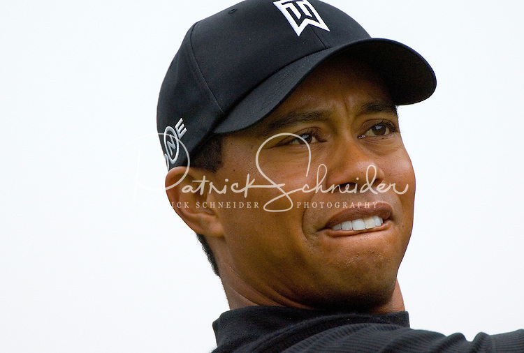 Close up shot of Tiger Woods during the 2007 Wachovia Championships at Quail Hollow Country Club in Charlotte, NC.