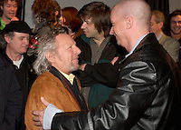 April 29 2003, Montreal, Quebec, Canada<br /> <br /> Claude Leveille (L) and Dan Bigras at the  2003 Montreal's Francofolies programation press conference ,April 29 2003  in Montreal, Canada.