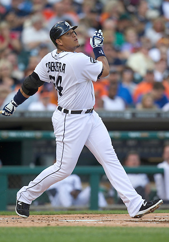 June 28, 2011:  Detroit Tigers first baseman Miguel Cabrera (#24) at bat during MLB game action between the New York Mets and the Detroit Tigers at Comerica Park in Detroit, Michigan.  The Mets defeated the Tigers  14-3.