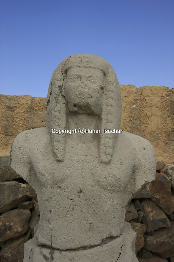 Israel, Beth Shean valley. A statue of Ramses III from 12th century B.C. the time of the Egyptian rule
