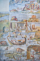 Pictures of the famous Roman Palestrina Nilotic landscape Mosaic or Nile mosaic of Palestrina, 1st or 2nd century BC. Museo Archeologico Nazionale di Palestrina Prenestino  (Palestrina Archaeological Museum), Palestrina, Italy.
