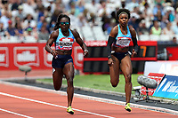 Morolake Akinosun of USA and Rosangela Cristina Oliveira Santos of Brazil compete in the womenís 100 metres  during the Muller Anniversary Games at The London Stadium on 9th July 2017