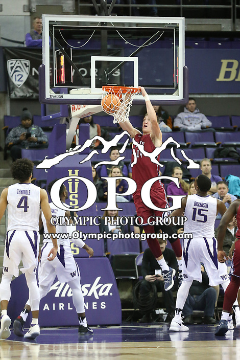 SEATTLE, WA - DECEMBER 17: Loyola Marymount's (14) Mattias Markusson (C) slams the basketball through the basket during first half action against Washington.  Washington won 80-77 over Loyola Marymount at Alaska Airlines Arena in Seattle, WA.  (Photo by Jesse Beals/Icon Sportswire