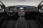 Stock photo of straight dashboard view of a 2015 Nissan Pathfinder Sl 2Wd 5 Door Suv 2WD Dashboard