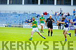 Lixnawv's James Flaherty in possession as St Brendans Darren Dineen attemps to block his delivery, in the Qtr final of the Senior Hurling Championship in Austin Stack Park on Sunday.