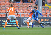 Blackpool's Jordan Thompson vies for possession with Gillingham's Darren Oldaker<br /> <br /> Photographer Kevin Barnes/CameraSport<br /> <br /> The EFL Sky Bet League One - Blackpool v Gillingham - Saturday 4th May 2019 - Bloomfield Road - Blackpool<br /> <br /> World Copyright © 2019 CameraSport. All rights reserved. 43 Linden Ave. Countesthorpe. Leicester. England. LE8 5PG - Tel: +44 (0) 116 277 4147 - admin@camerasport.com - www.camerasport.com