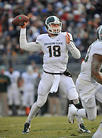 29 November 2014:  Michigan State QB Connor Cook (18) throws downfield. The Michigan State Spartans defeated the Penn State Nittany Lions 34-10 at Beaver Stadium in State College, PA.