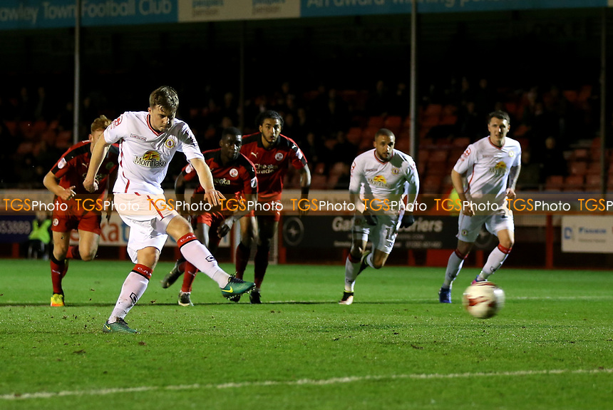 James Jones of Crewe Alexandra fires home his first half penalty during Crawley Town vs Crewe Alexandra, Sky Bet EFL League 2 Football at Broadfield Stadium on 14th March 2017