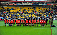 The Kiwis sing the national anthem before the 2017 Rugby League World Cup quarterfinal match between New Zealand Kiwis and Fiji at Wellington Regional Stadium in Wellington, New Zealand on Saturday, 18 November 2017. Photo: Dave Lintott / lintottphoto.co.nz