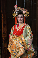 "Japan; Kyoto. Kikugawa, a Tayu or Oiran. Once known as a courtesans, they are highly educated in tea cermony, flower arranging, playing music, calligraphy, are well read and good conversationists. Her black teeth are a sign of beauty. Therare about 5 tayu today, compared to about 300 geisha. ""A tayu is my ideal woman image, I chose to be one. I was also concerned that this culture would disappear."" Model released."
