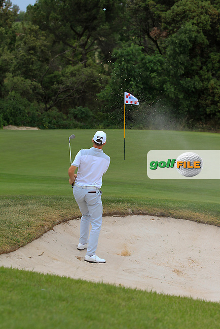 Michael Hoey (NIR) on the 9th green during Round 1 of the Open de Espana  in Club de Golf el Prat, Barcelona on Thursday 14th May 2015.<br /> Picture:  Thos Caffrey / www.golffile.ie