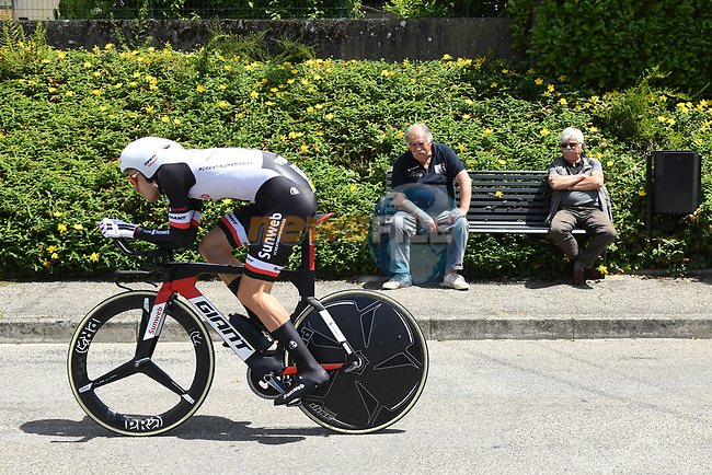 Phil Bauhaus (GER) Team Sunweb in action during Stage 4 of the Criterium du Dauphine 2017, an individual time trial running 23.5km from La Tour-du-Pin to Bourgoin-Jallieu, France. 7th June 2017. <br /> Picture: ASO/A.Broadway | Cyclefile<br /> <br /> <br /> All photos usage must carry mandatory copyright credit (&copy; Cyclefile | ASO/A.Broadway)