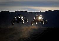 Dec. 18, 2009; Lake Elsinore, CA, USA; LOORRS unlimited buggy drivers take a jump during qualifying for the Lucas Oil Challenge Cup at the Lake Elsinore Motorsports Complex. Mandatory Credit: Mark J. Rebilas-US PRESSWIRE