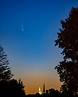 July 11, 2020; Comet Neowise over the campus skyline (Photo by Matt Cashore/University of Notre Dame)