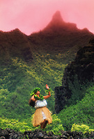 Kahiko hula dance in Limahuli Valley, Kauai