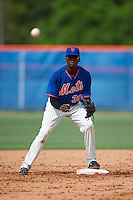GCL Mets second baseman Cecilio Aybar (39) waits for a throw during the first game of a doubleheader against the GCL Marlins on July 24, 2015 at the St. Lucie Sports Complex in St. Lucie, Florida.  GCL Marlins defeated the GCL Mets 5-4.  (Mike Janes/Four Seam Images)