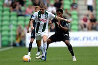GRONINGEN - Voetbal, FC Groningen - Werder Bremen, voorbereiding seizoen 2018-2019, 29-07-2018,  FC Groningen speler Django Warmerdam  met Manuel Mbom