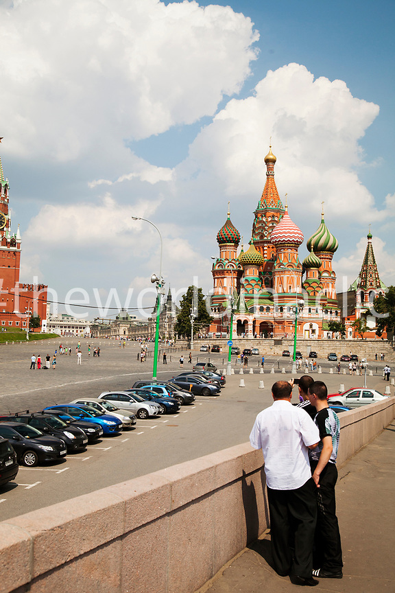 RUSSIA, Moscow. Wider view of St. Basil's Cathedral.
