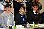 (L to R) Yoko Tanabe, Nobuharu Asahara, Kentaro Asahi, FEBRUARY 28, 2013 : Tokyo Olympic and Paralympic Games 2020 bidding committee held athletes' committee .in order to advance the bidding activities of Tokyo Olympic and Paralympic Games 2020 at Kishi memorial gymnasium, Tokyo, Japan. (Photo by Jun Tsukida/AFLO SPORT) [0003]