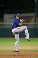 AZL Rangers relief pitcher Joel Urena (35) delivers a pitch to the plate against the AZL Giants on September 4, 2017 at Scottsdale Stadium in Scottsdale, Arizona. AZL Giants defeated the AZL Rangers 6-5 to advance to the Arizona League Championship Series. (Zachary Lucy/Four Seam Images)