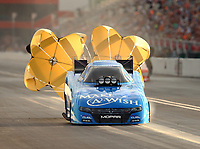 Jun 17, 2017; Bristol, TN, USA; NHRA funny car driver Tommy Johnson Jr during qualifying for the Thunder Valley Nationals at Bristol Dragway. Mandatory Credit: Mark J. Rebilas-USA TODAY Sports